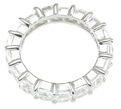 4 CARAT .925 STERLING SILVER PRINCESS CUT ETERNITY RING BAND SIZE 5 6 7 8 9