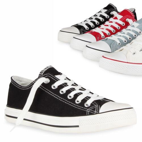 895022 Damen Sneakers Low Sportliche Canvas Schuhe Freizeit Trendy