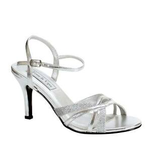 f2bbf79c947 WIDE WIDTH Low Heel Silver Glitter Open Toe Ankle Strap Formal ...