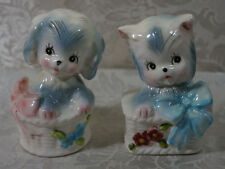 Vintage Puppy & Kitten In Basket Salt And Pepper Shaker Set Norcrest Japan