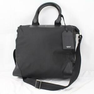MONTBLANC SARTORIAL JET LARGE ENVELOPTE CARRY ON TOTE BLACK LEATHER TRIM