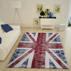 Details About Uk Flag Woven Rug Modern Soft Union Jack Living Room Carpet Red Blue Small Large