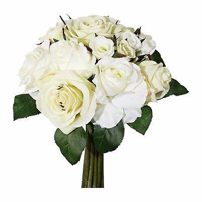 303143-48 30 cm ROSENBOUQUET Rosenstrauß mit 18 Rosen in creme Kunstblume
