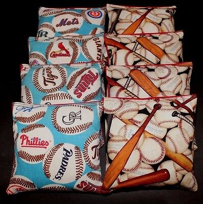 SET OF 8 ALL WEATHER NEW YORK METS CORNHOLE BEAN BAGS FREE SHIPPING