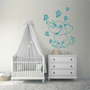 Wandtattoo Baby Elefant Schmetterlinge Kinderzimmer Motiv 661 Xl