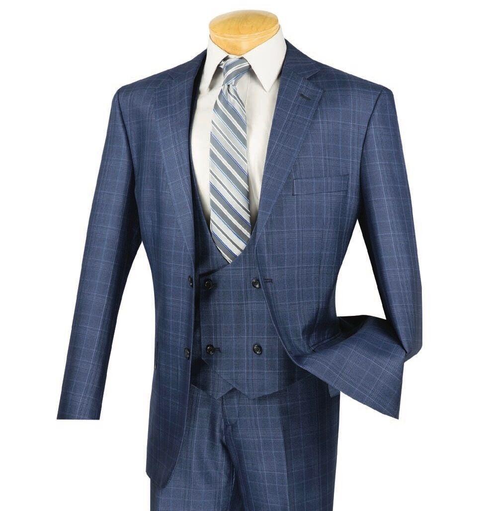 Vinci Men's Oxford bluee Glen Plaid 3 Piece 2 Button Classic Fit Suit NEW