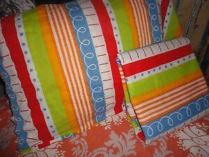 Ikea Kid Barnslig Snurr Red Orange Dots Stripes 2pc Twin