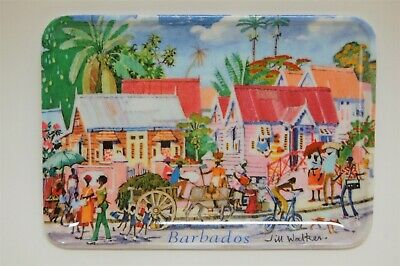 New With Tags Artist Jill Walker Caribbean Scene Serving Platter Made In Italy