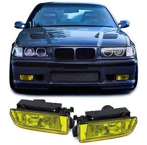 Klarglas-Nebelscheinwerfer-Gelb-fuer-BMW-3ER-E36-Limousine-Coupe-Cabrio-Touring