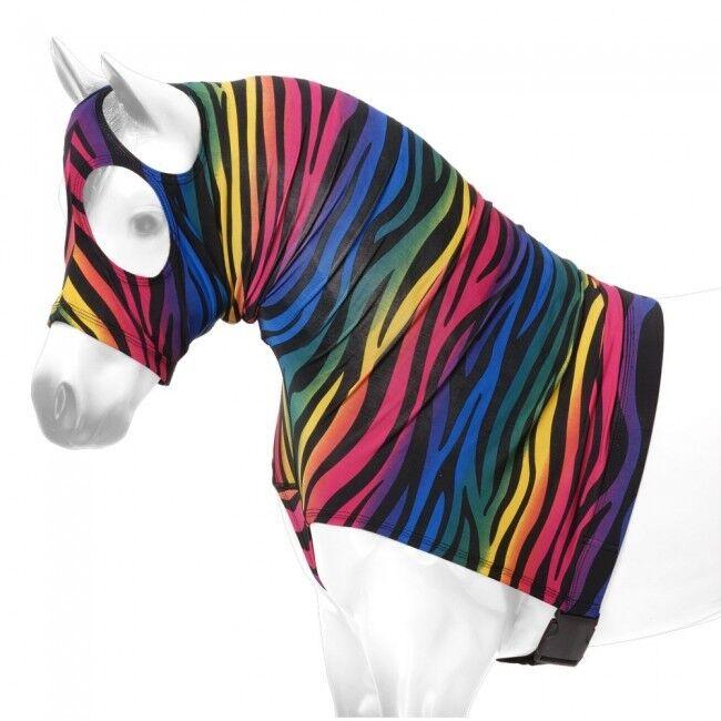 Rainbow Zebra Mini Miniature Horse mostrare uomoe Stay Lycra Sleazy Hood Zipper