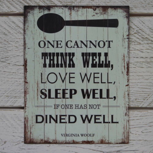 Retro Vintage Metal Plaque Virginia Woolf Quote Think Love Sleep Dined Tin Sign