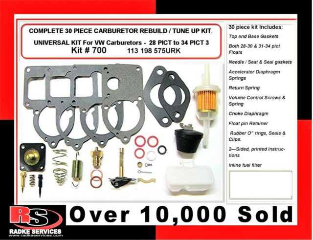 VW SOLEX Carb Universal Rebuild Kit Wth FLOATS 28/30/34 Pict3 bug RADKE kit 700