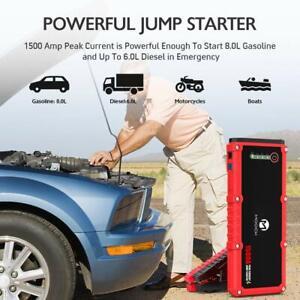 Aickar Jump Starter Auto Battery Booster 12V Car Jumper Power Bank Power Pack with Built-in LED Light