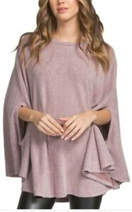 Solid Cape Knit Top Solid Knit Sx6w6vd