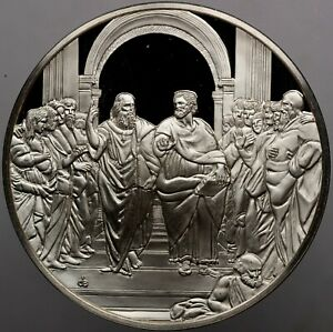 1977-GREAT-MASTERPIECES-THE-SCHOOL-OF-ATHENS-SILVER-CAMEO-FRANKLIN-MINT-DR