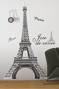 Eiffel tower big 56 wall stickers mural paris room decor for Eiffel tower wall mural black and white