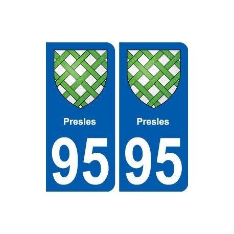 95 Presles blason autocollant plaque stickers ville -  Angles : arrondis