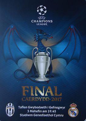 Real Madrid Menükarte Menu UEFA CL Finale 2017 Juventus Turin