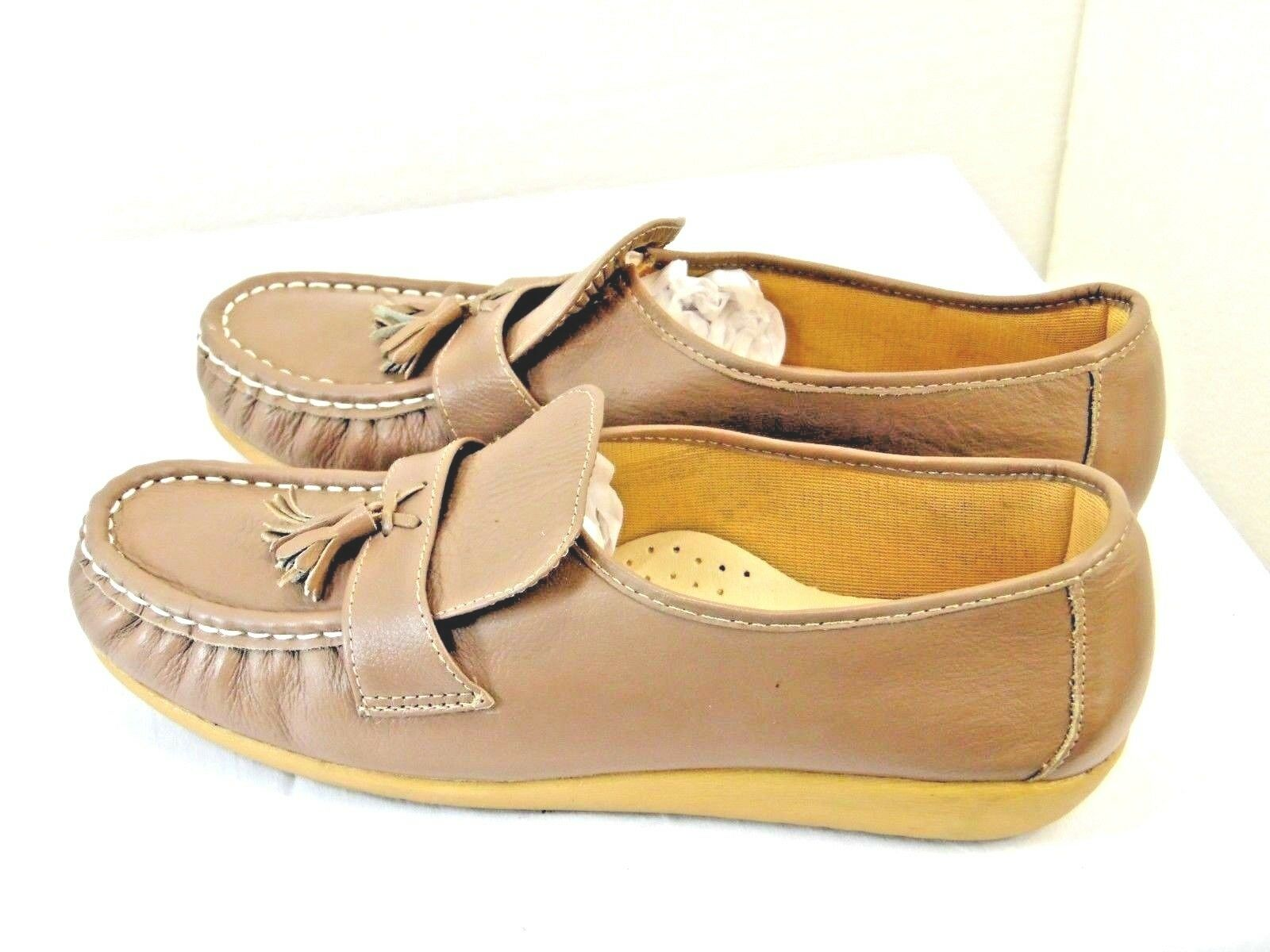CASUAL WALKERS brand womens shoes leather upper size 81 2  m dark tan color  YC3
