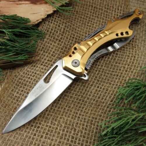 SPRING-ASSIST FOLDING POCKET KNIFEMtech Silver Gold Tactical Survival Blade