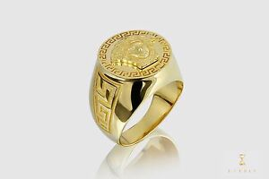b8dfc833eb854 Details about Versace Medusa 14k Solid Yellow Gold Men's Gold Ring Mens  Jewelry Shiny Ring 8.5