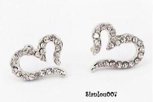 Cute-Small-Diamonte-Diamante-Heart-Stud-Earrings-NEW