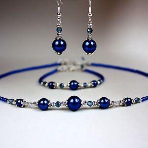 Midnight-blue-pearl-crystal-collar-necklace-bracelet-earrings-silver-jewelry-set