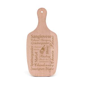 Schneidebrett Graviert WEIN Weinsorten Rebsorten - Deko Holz Servierbrett 34x15