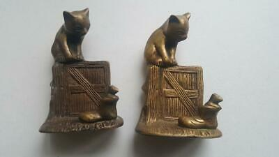 Brass Cat And Mouse Bookends Door Stopper Paperweight Figurine Ebay