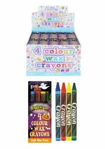 Halloween Pack 4 Mini Wax Colouring Crayons Kids Lucky Dip Party Bag Toy Filler
