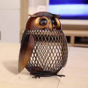 TOOARTS Owl Metal Coin Saver Box Money Pot Home Decor Articles Piggy Bank R1E1