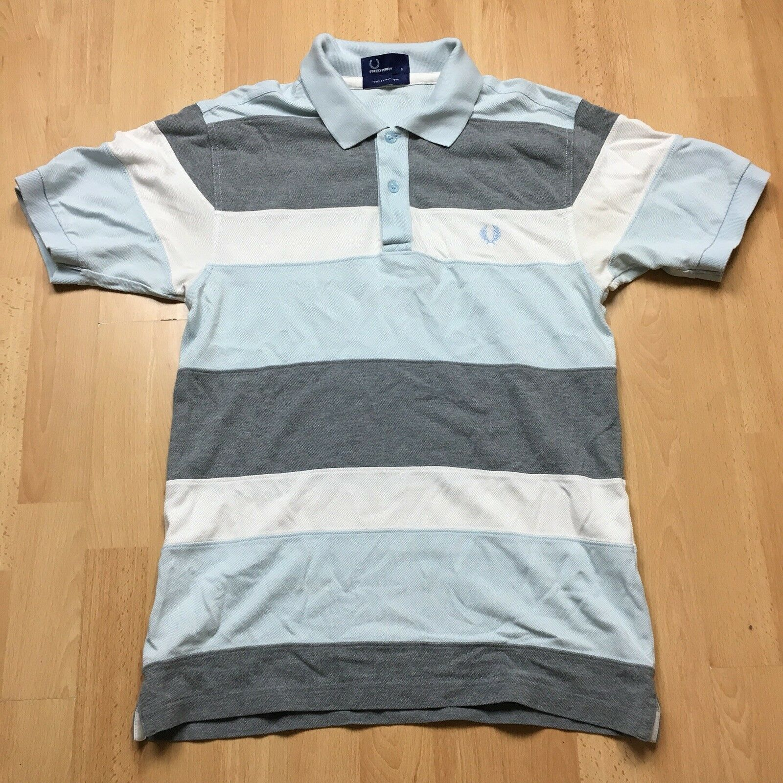 FRED PERRY MULTI STRIPE POLO T SHIRT blueE WHITE GREY SMALL