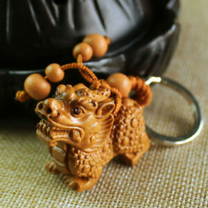 Carving-Chinese-Wealth-Pixiu-Pi-Yao-Statue-Sculpture-Pendant-Key-Wood-3D-Chain