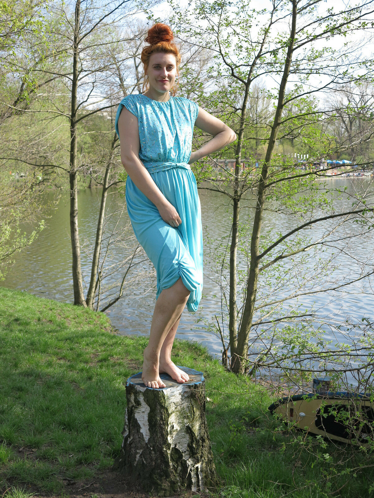 Damen Kleid türkis Regenbogen Glitter 70s Sommerkleid Abendkleid True VINTAGE
