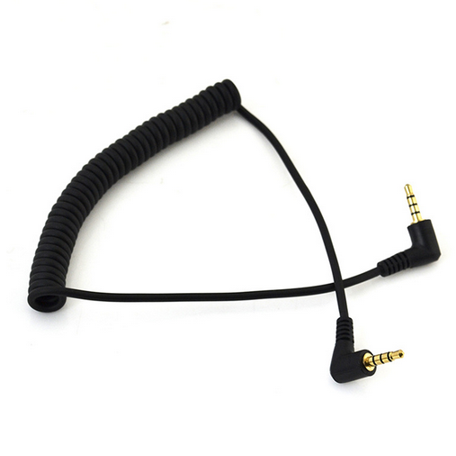 1.5m 90 Degree Angled Coiled 4 Pole 3.5mm Male To 4p Male Stereo Audio Aux Cable Modern En Elegant In Mode