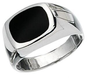 Elements 925 Polished Sterling Silver & Genuine Black Onyx Men's Signet Ring [Q]