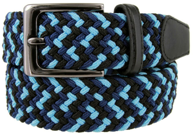 """7001G Men/'s Fabric Leather Elastic Woven Stretch Belt 1-3//8/"""" Wide"""