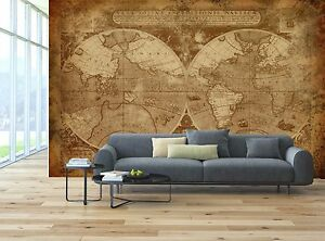 Old World Map Mural.Brown Retro Old World Map Wall Mural Photo Wallpaper Giant Wall
