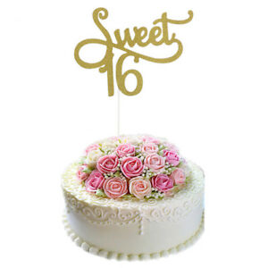 1pc Sweet 16 Gold Cake Topper 16th Birthday Party Themes