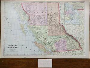 Vintage-1903-BRITISH-COLUMBIA-CANADA-Map-22-034-x14-034-Old-Antique-Original-VANCOUVER