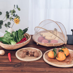 Food Tent Basket Tray Fruit Vegetable Bread Storage Basket with Mesh Net Cove LD
