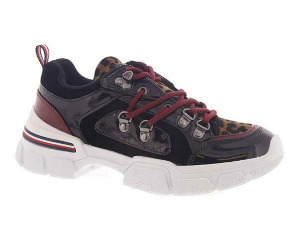 Tommy Hilfiger NIKOS Faux Fur Leopard Patent Leather Chunky Sneakers Wm's NWOT