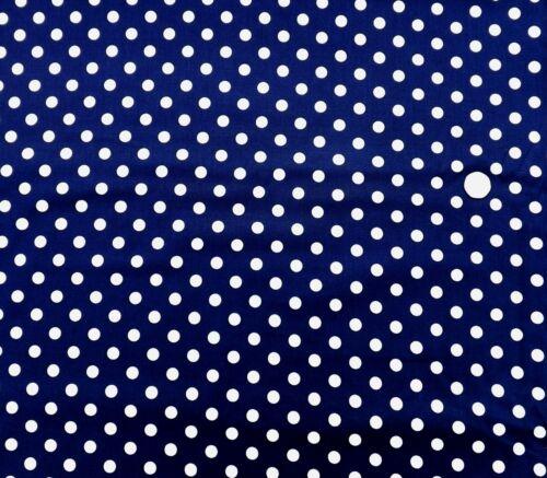 Medium white spot on Navy 1 metre 100/% Cotton JL5001