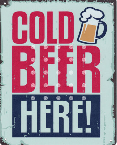 COLD BEER SERVED HERE RETRO VINTAGE STYLE 6x8in 20x15cm garage pub bar room