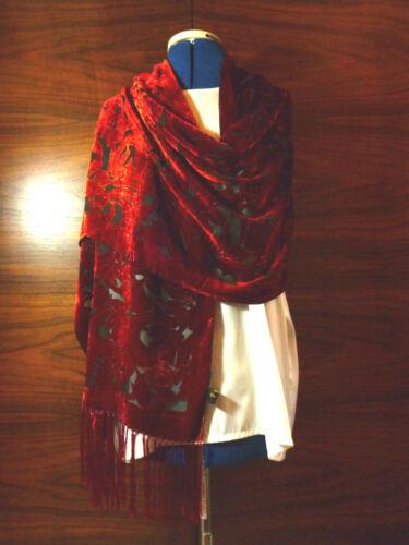 Velvet devore scarf//shawl  Rich shades of orange Floral design on black    NEW