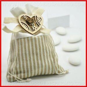 12 Porta Confetti Sacchetti A Righe Con Cuore Love In Legno Shabby