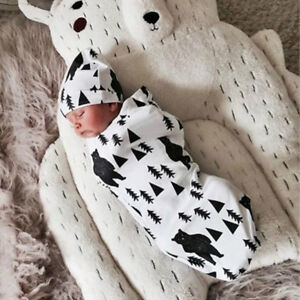 Pure-Cotton-Newborn-Baby-Swaddle-Muslin-Wrap-Swaddling-Sleeping-Bag-Hat-Set