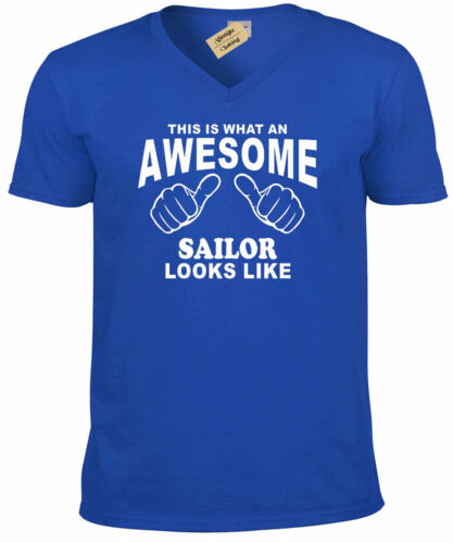Awesome SAILOR funny boat ship nautical gift mens V-Neck T Shirt