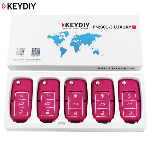 5PC,KEYDIY Universal KD900 URG200 Remote Control 3 Button Key B01 Luxury Pink