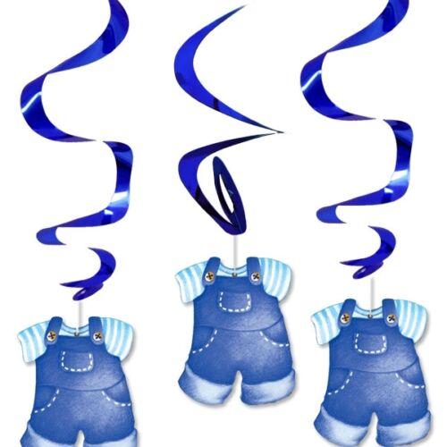 Dekospiralen Set Baby Boy mit glänzenden Metallicspiralen 3er Pck